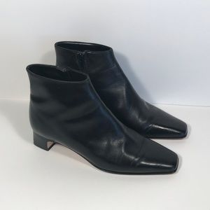 Talbots Italy Black Leather Booties Women 6.5 W